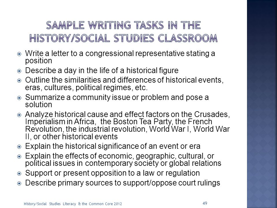 Sample writing tasks in the history/social studies classroom