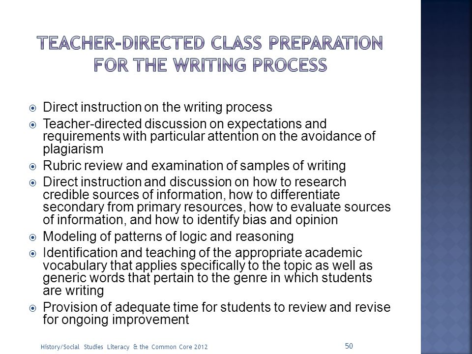 Teacher-Directed Class Preparation for the Writing Process