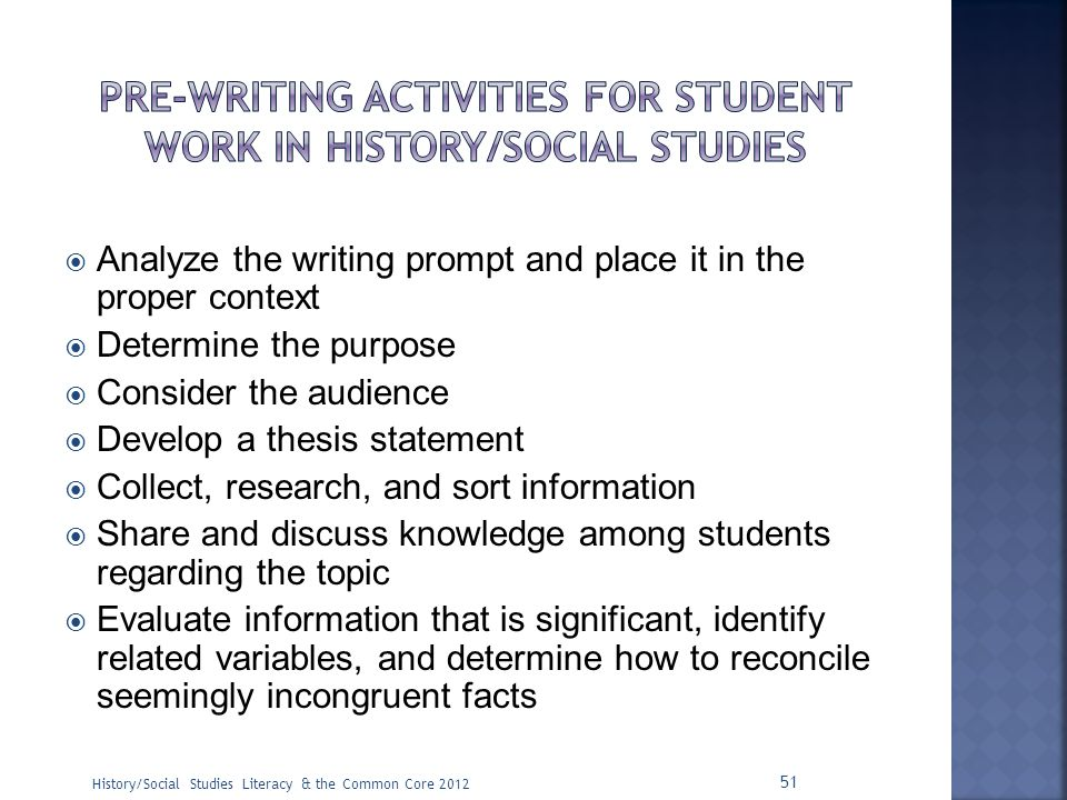 Pre-writing activities for student work in history/social studies