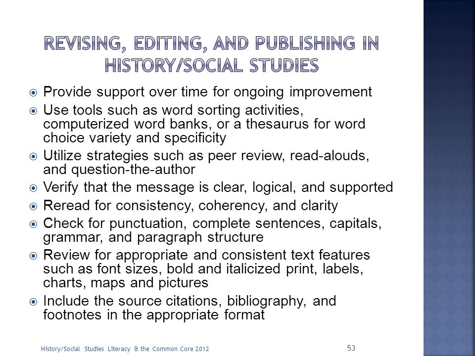 Revising, editing, and publishing in history/social studies