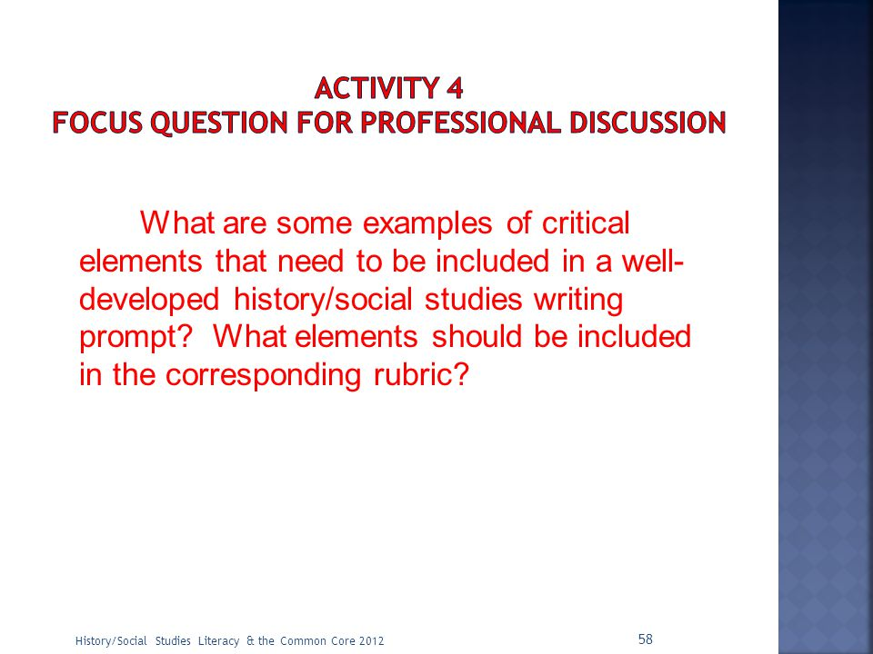 ACTIVITY 4 Focus Question for Professional Discussion
