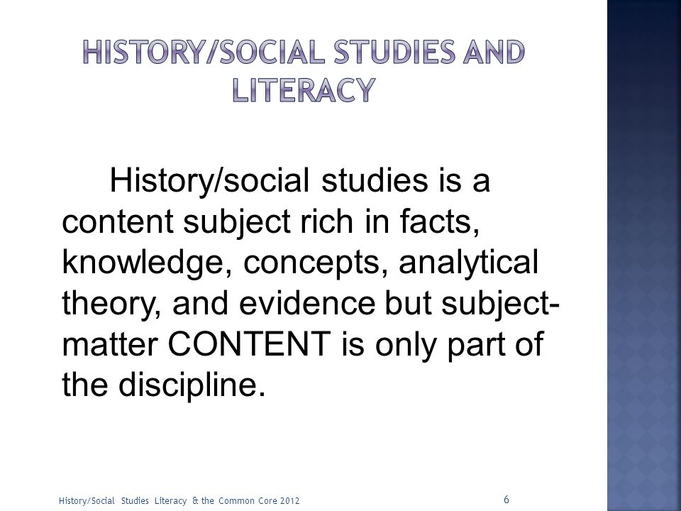 history/social studies and literacy