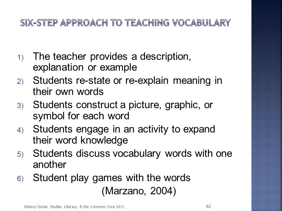 Six-step approach to teaching vocabulary