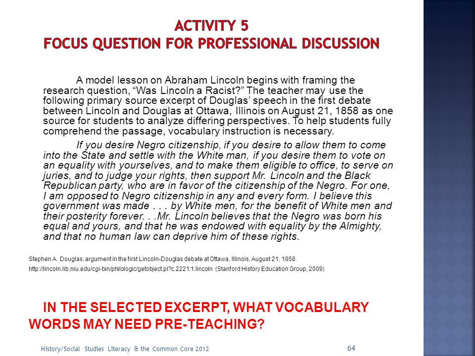 ACTIVITY 5 Focus Question for Professional Discussion