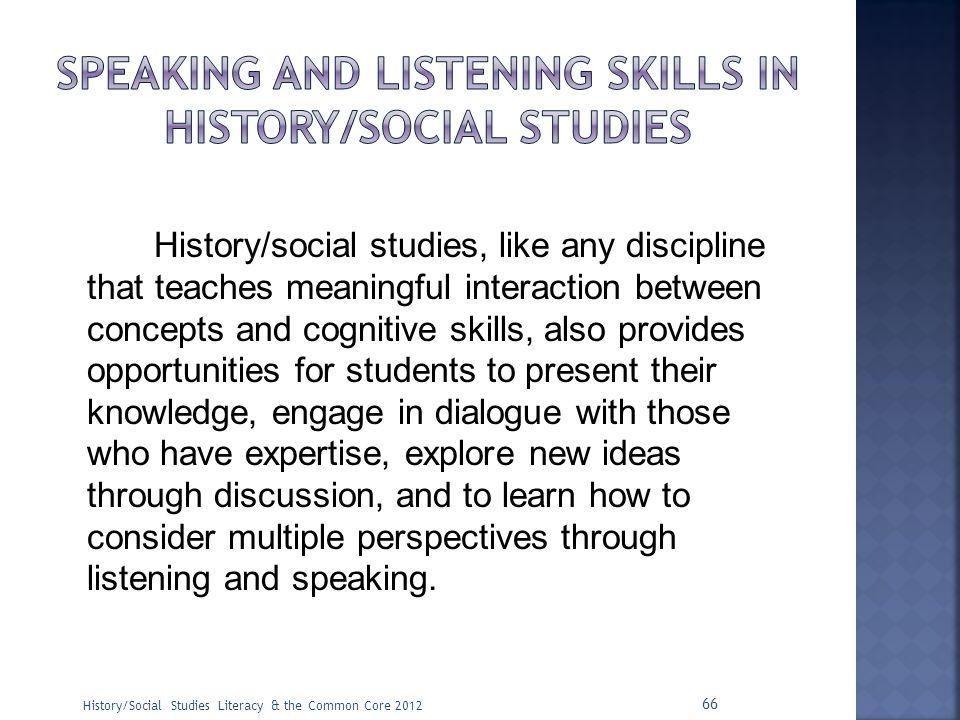 Speaking and listening skills in history/social studies