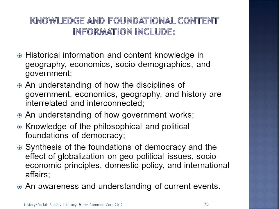 Knowledge and foundational content information include: