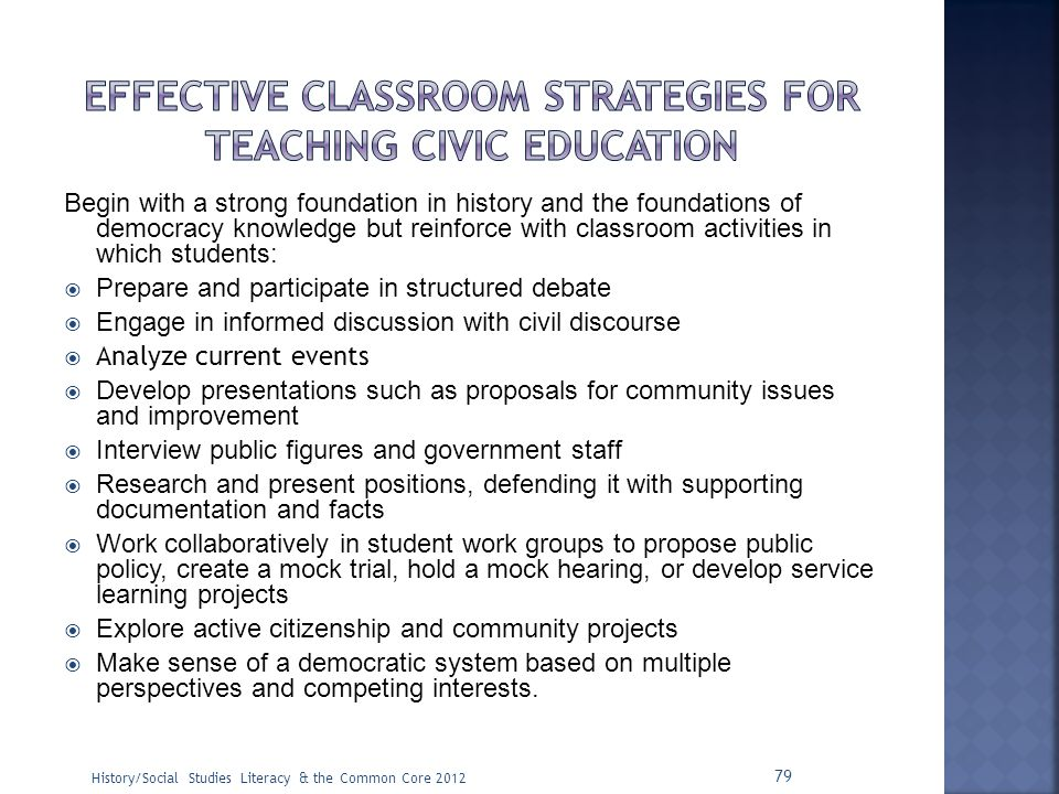 Effective classroom strategies for teaching civic education