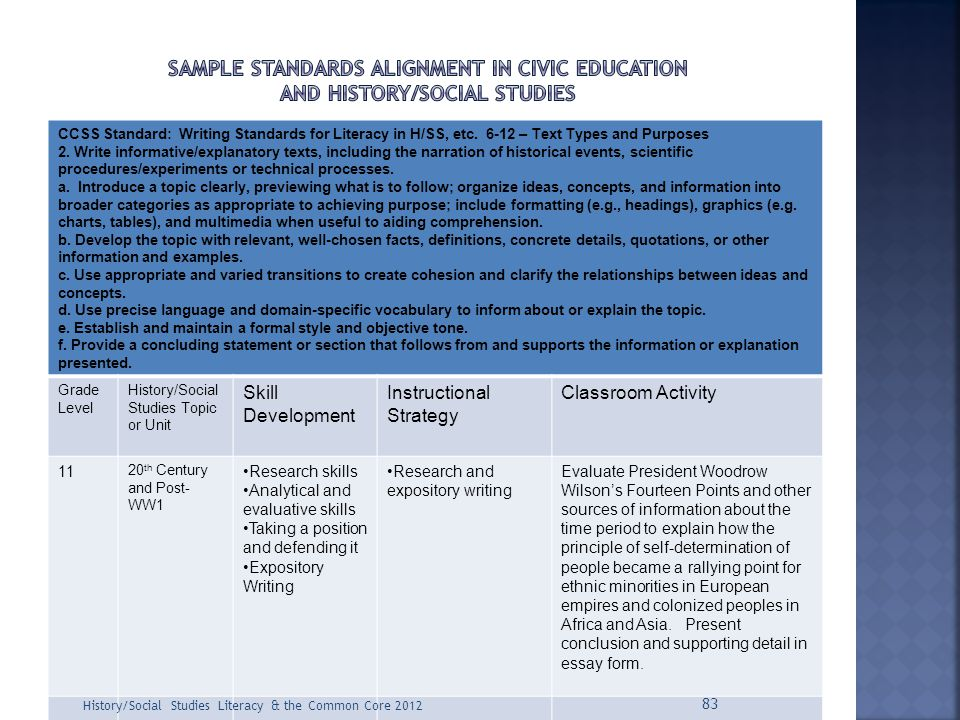 Sample Standards alignment in Civic education and history/social studies