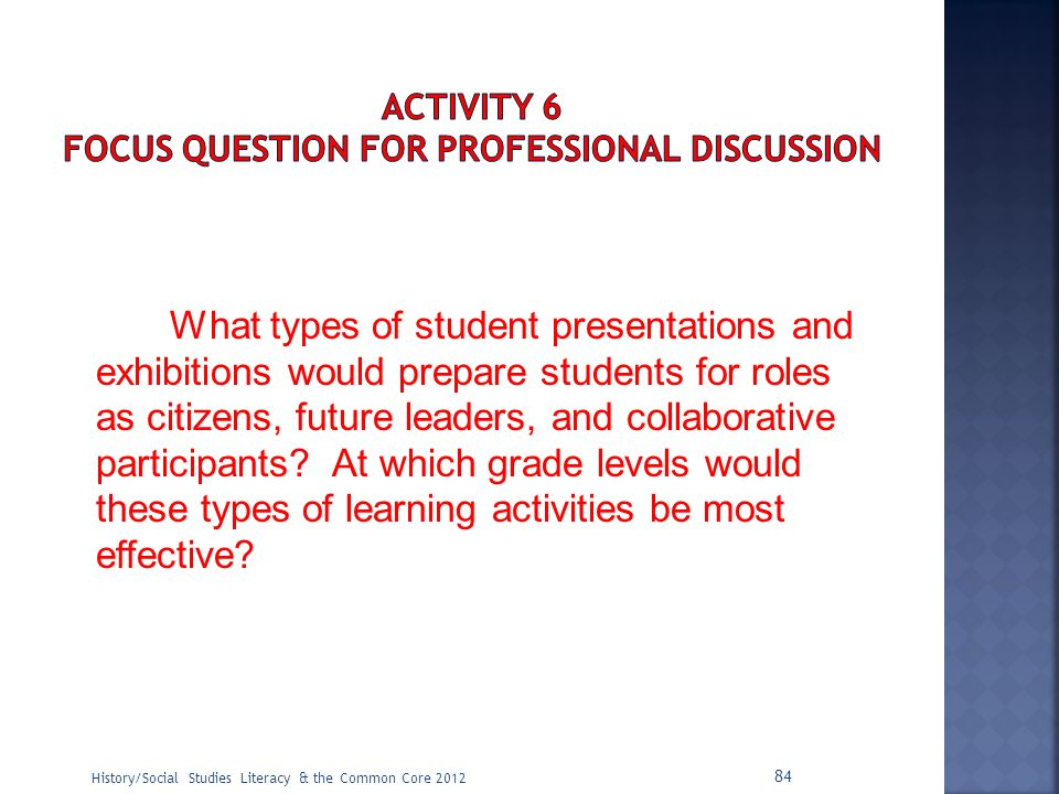 ACTIVITY 6 Focus Question for Professional Discussion