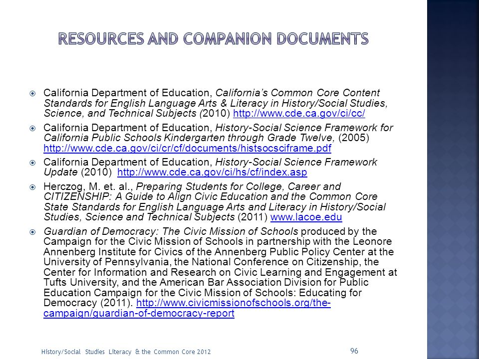 Resources and companion documents