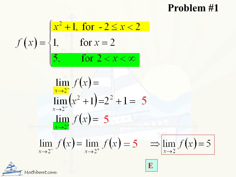 Problem #1 E Mathboat.com