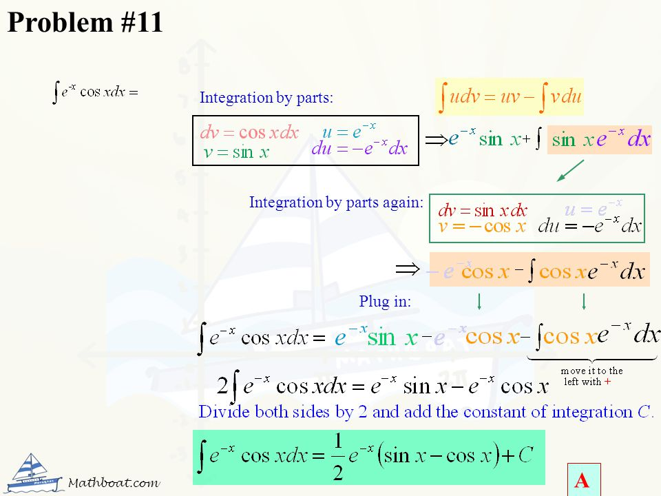 Problem #11 A Integration by parts: Integration by parts again: