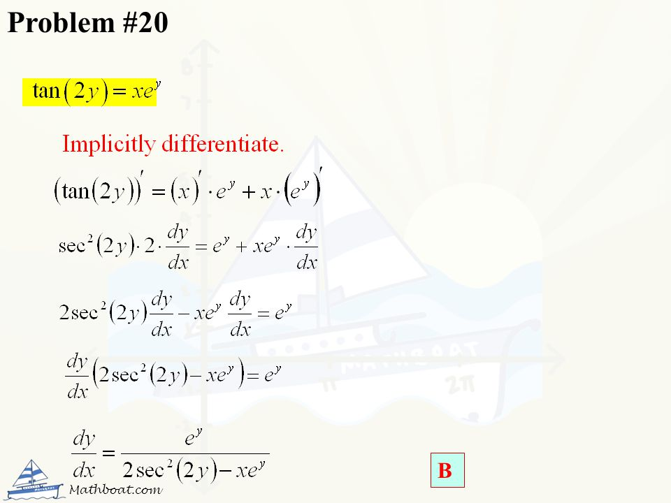 Problem #20 B Mathboat.com