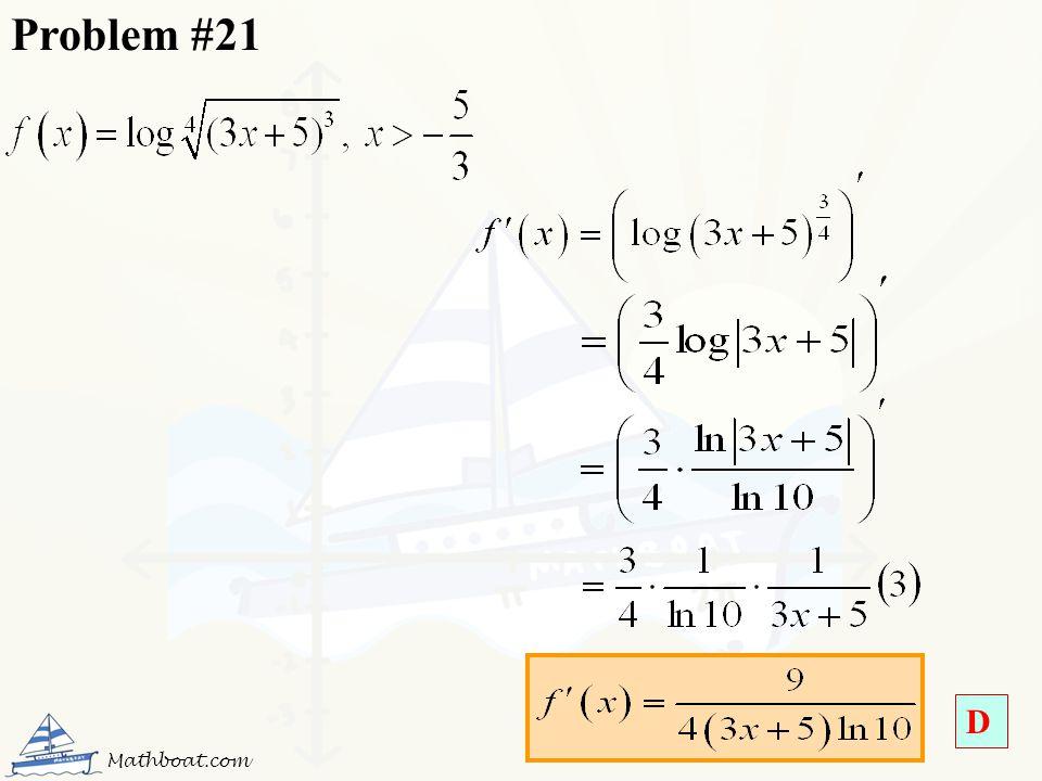 Problem #21 D Mathboat.com