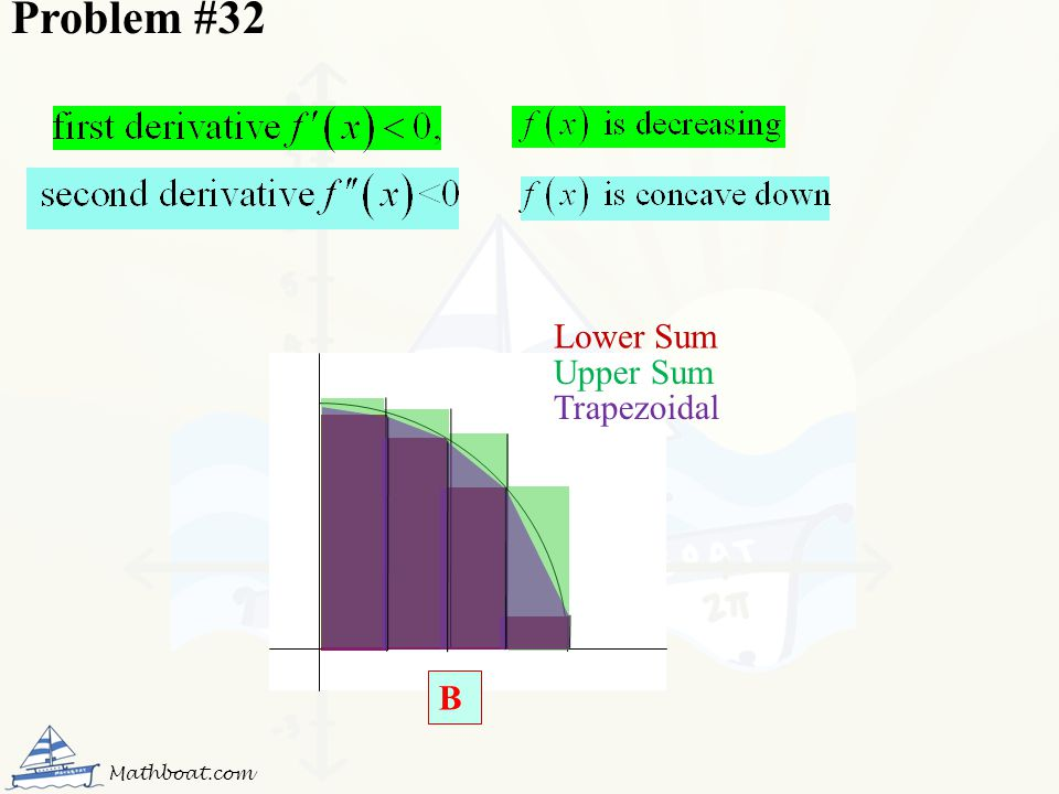Problem #32 Lower Sum Upper Sum Trapezoidal B Mathboat.com
