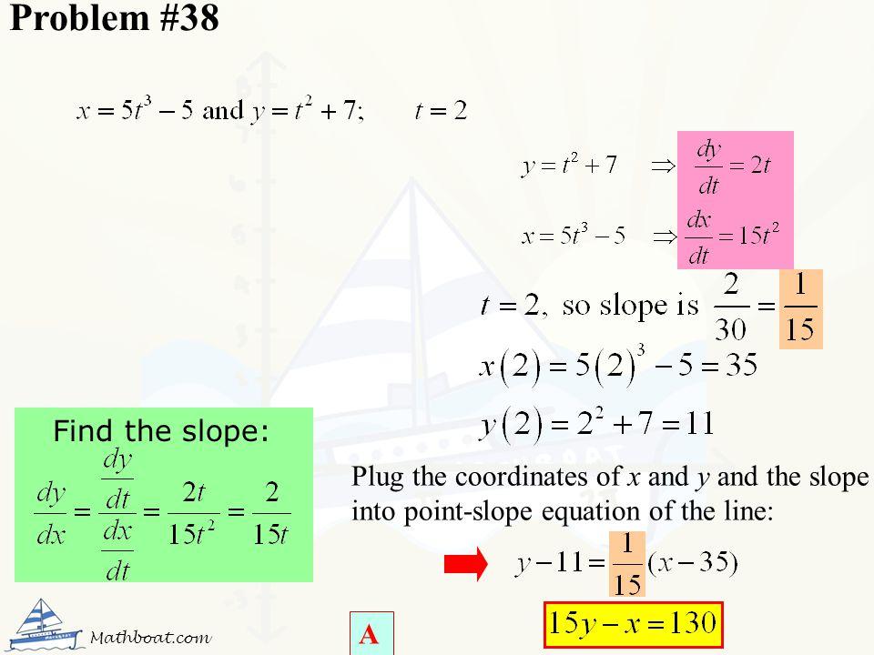 Problem #38 Find the slope: