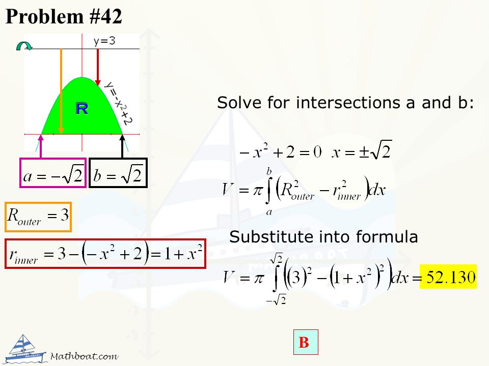 Problem #42 Solve for intersections a and b: Substitute into formula B