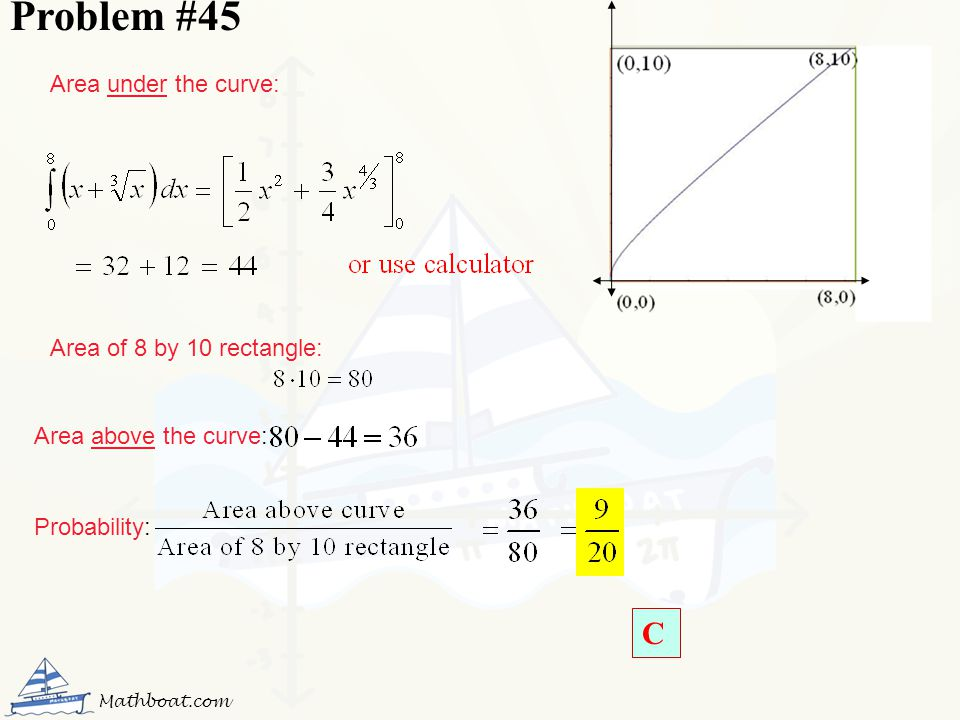 Problem #45 C Area under the curve: Area of 8 by 10 rectangle:
