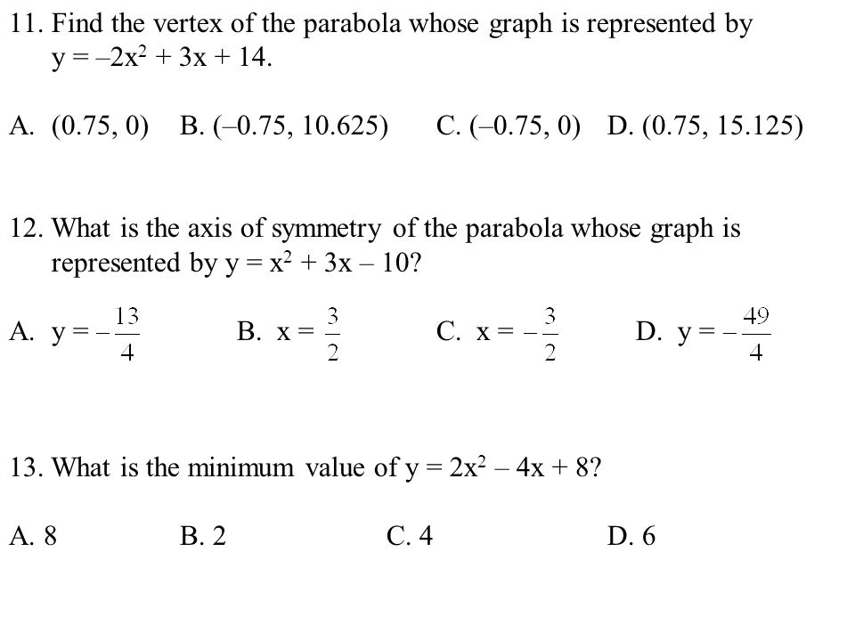 Find the vertex of the parabola whose graph is represented by