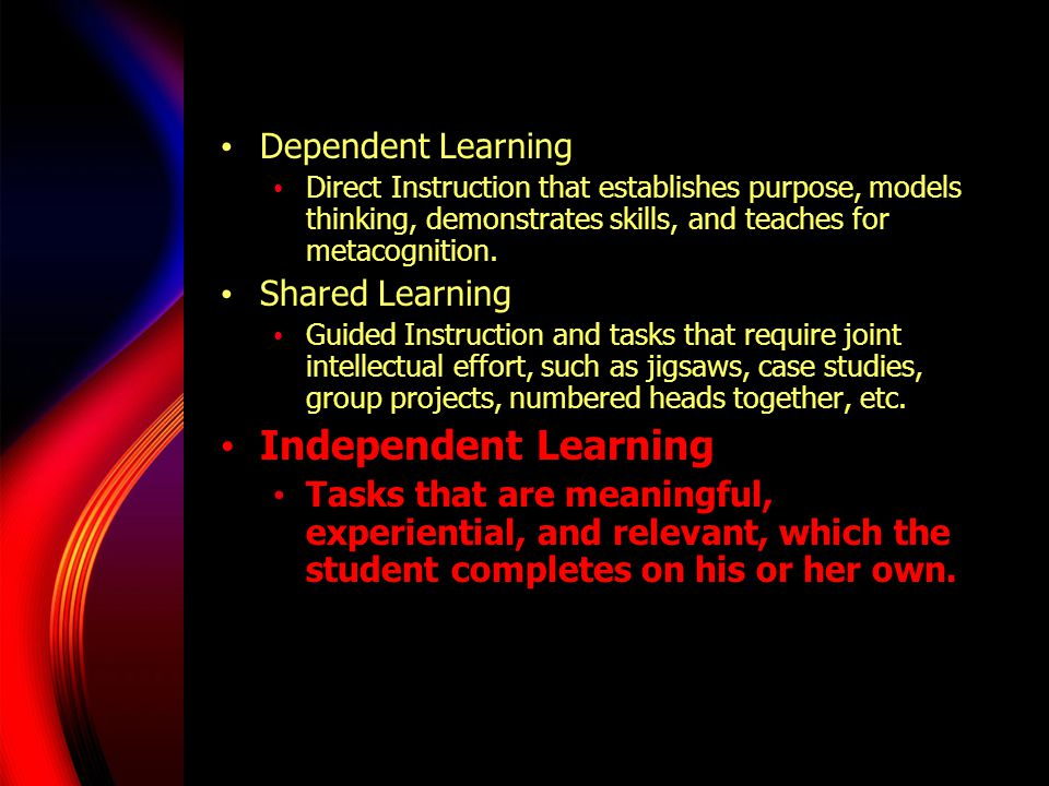 Independent Learning Dependent Learning Shared Learning