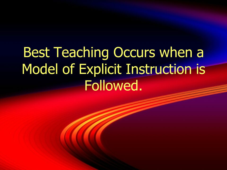 Best Teaching Occurs when a Model of Explicit Instruction is Followed.