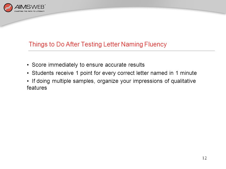 Things to Do After Testing Letter Naming Fluency