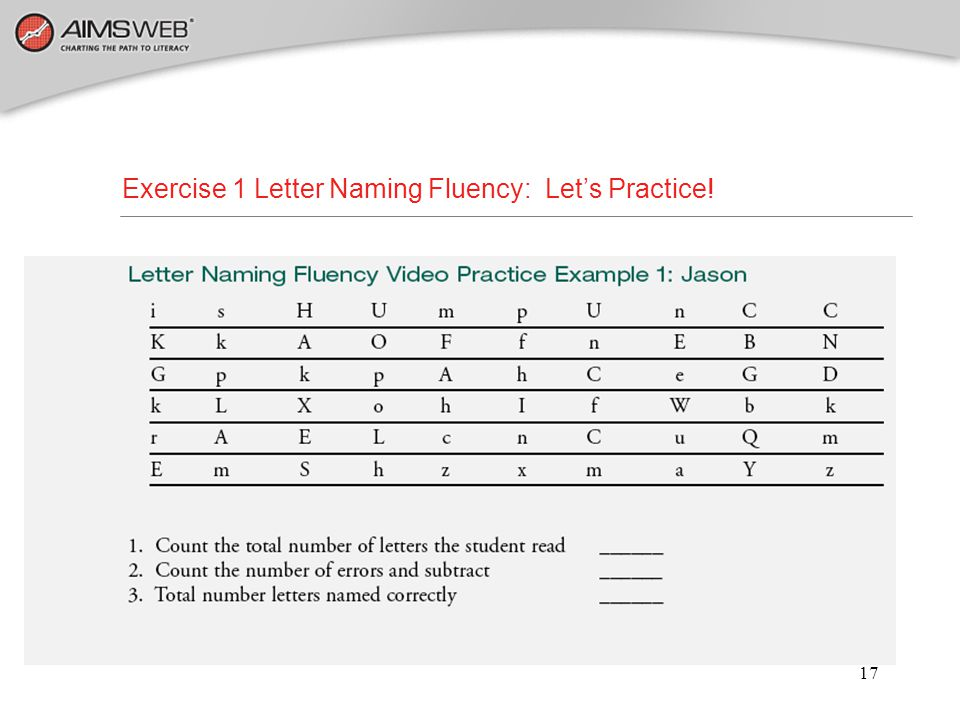 Exercise 1 Letter Naming Fluency: Let's Practice!