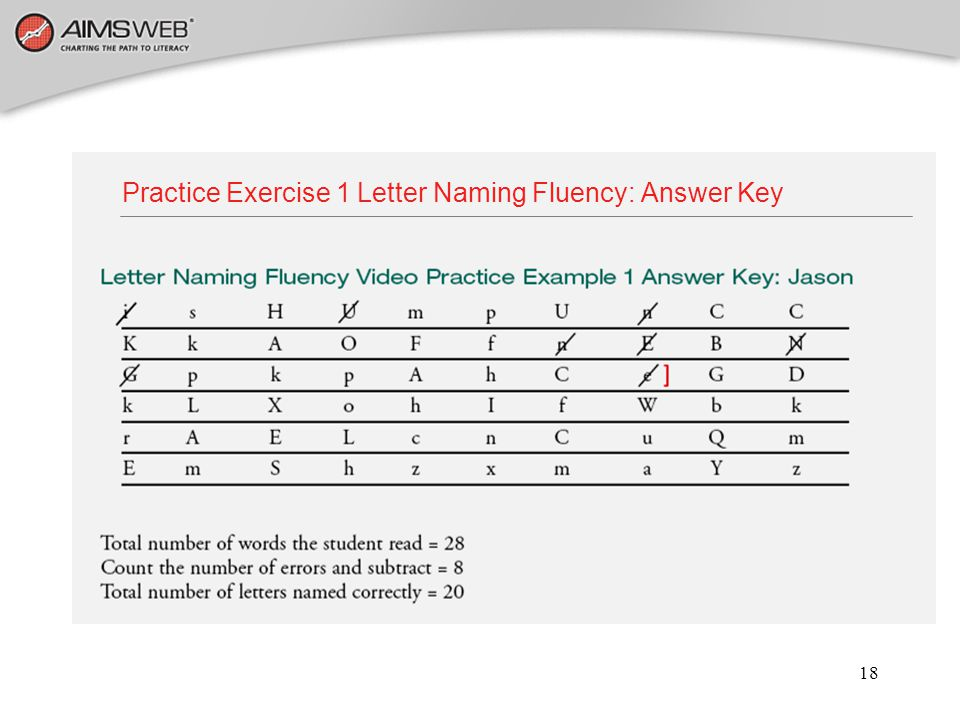 Practice Exercise 1 Letter Naming Fluency: Answer Key