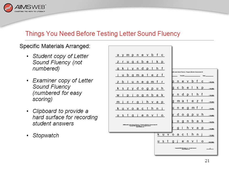Things You Need Before Testing Letter Sound Fluency