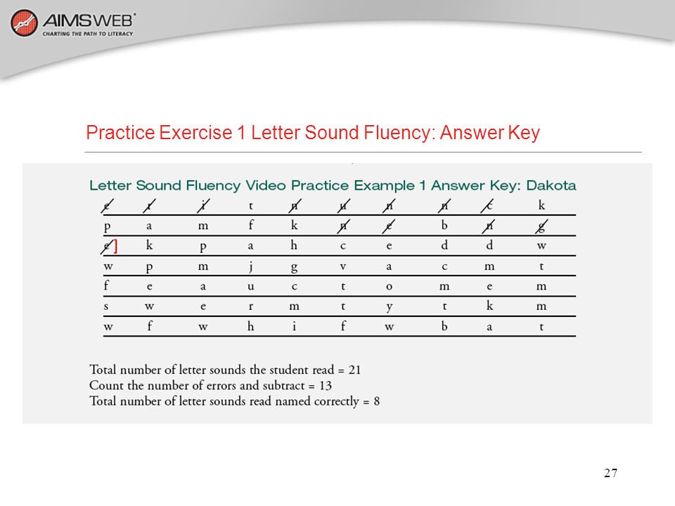 Practice Exercise 1 Letter Sound Fluency: Answer Key