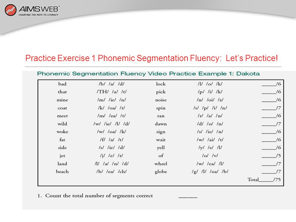 Practice Exercise 1 Phonemic Segmentation Fluency: Let's Practice!