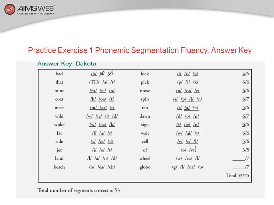 Practice Exercise 1 Phonemic Segmentation Fluency: Answer Key