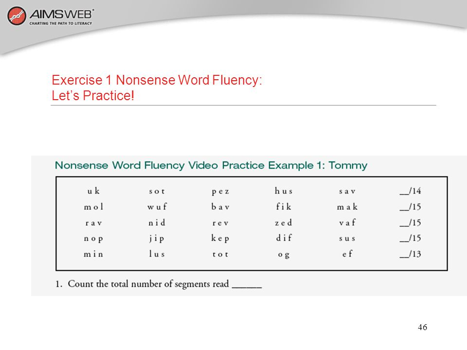 Exercise 1 Nonsense Word Fluency: Let's Practice!