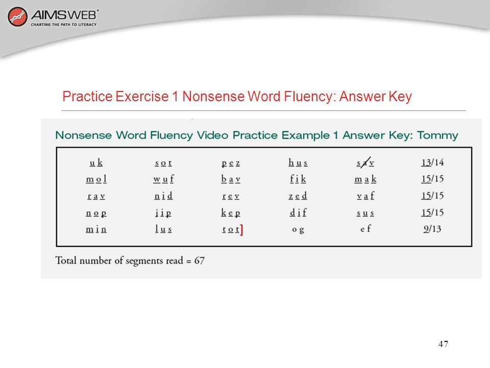 Practice Exercise 1 Nonsense Word Fluency: Answer Key