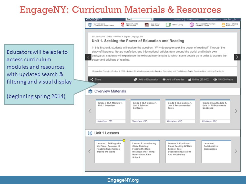 EngageNY: Curriculum Materials & Resources