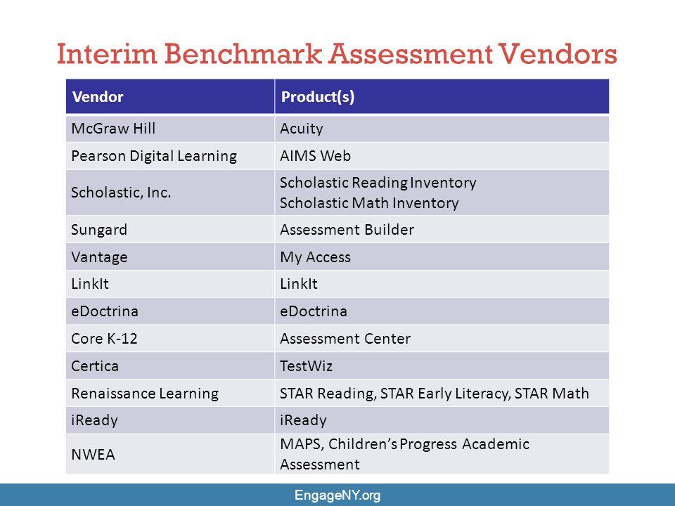 Interim Benchmark Assessment Vendors