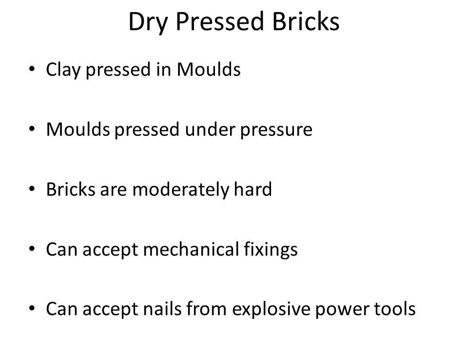 Dry Pressed Bricks Clay pressed in Moulds