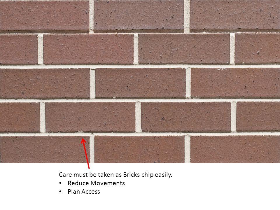 Care must be taken as Bricks chip easily.