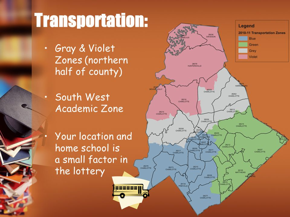 Transportation: Gray & Violet Zones (northern half of county)