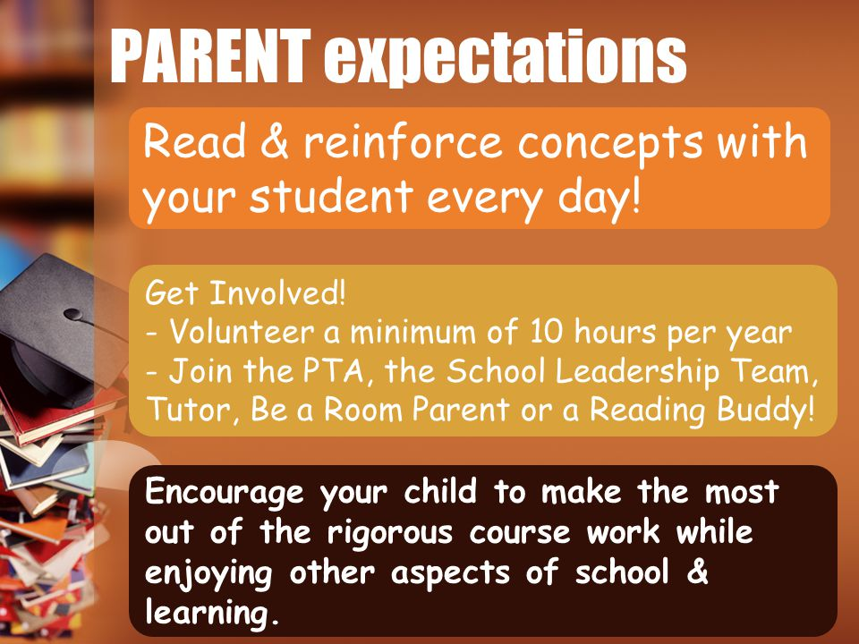 PARENT expectations Read & reinforce concepts with your student every day! Get Involved! - Volunteer a minimum of 10 hours per year.