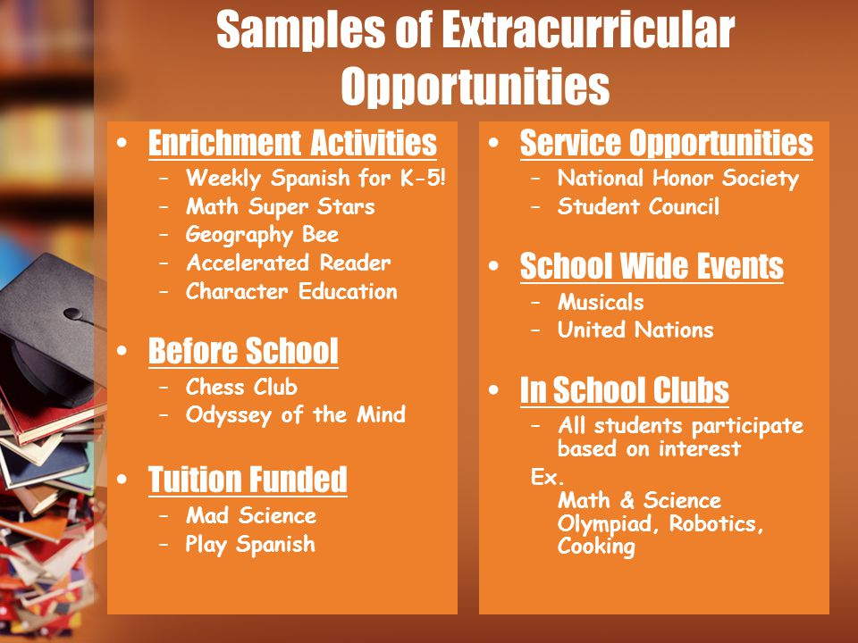 Samples of Extracurricular Opportunities