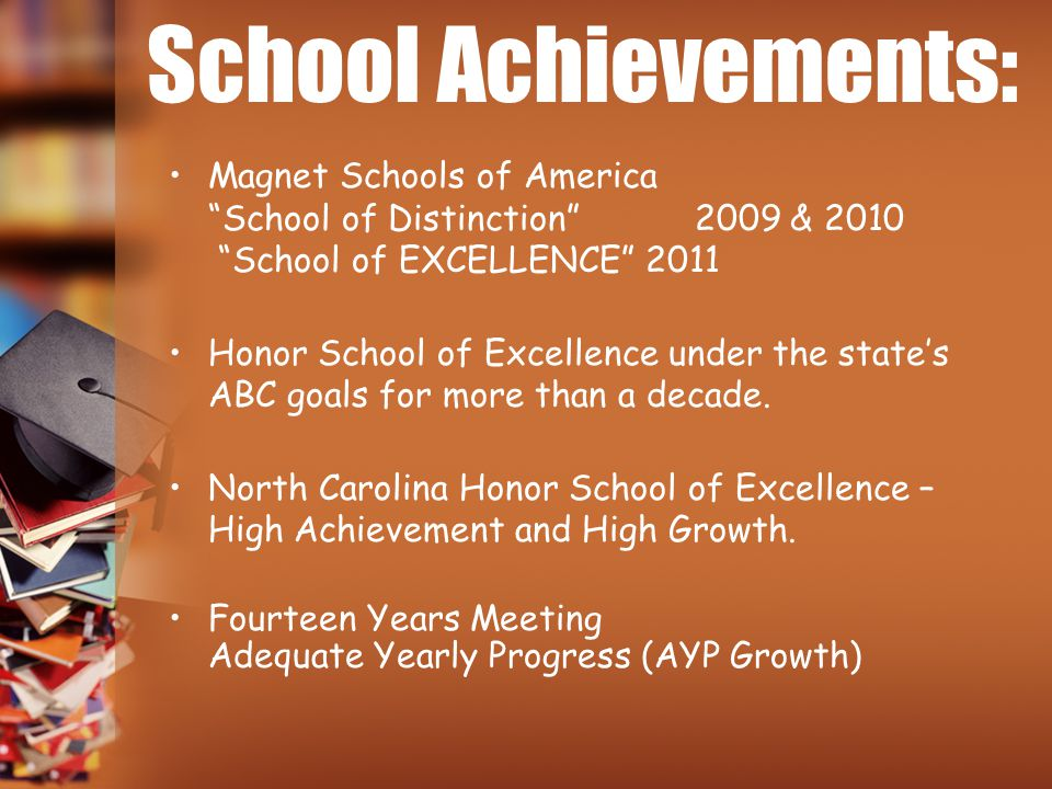 School Achievements: Magnet Schools of America School of Distinction 2009 & 2010 School of EXCELLENCE 2011.