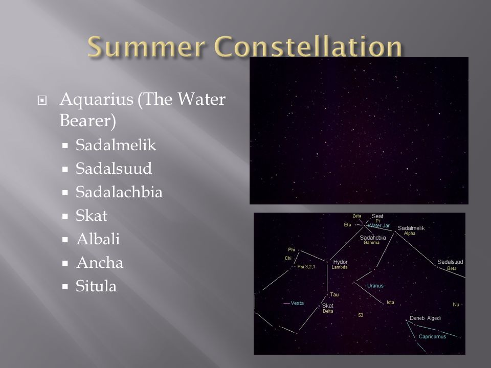 Summer Constellation Aquarius (The Water Bearer) Sadalmelik Sadalsuud