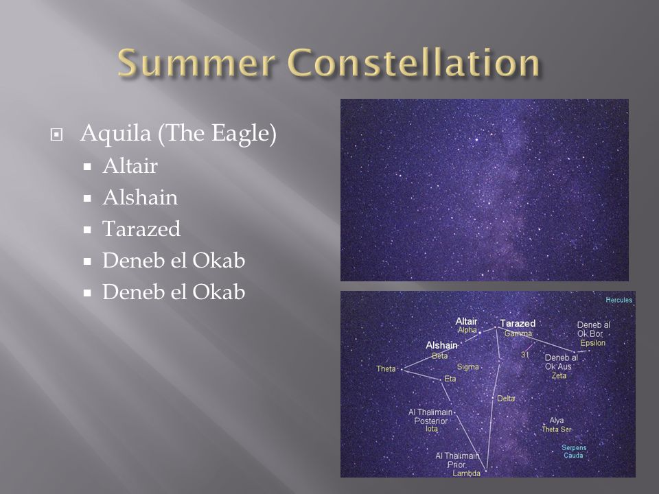 Summer Constellation Aquila (The Eagle) Altair Alshain Tarazed