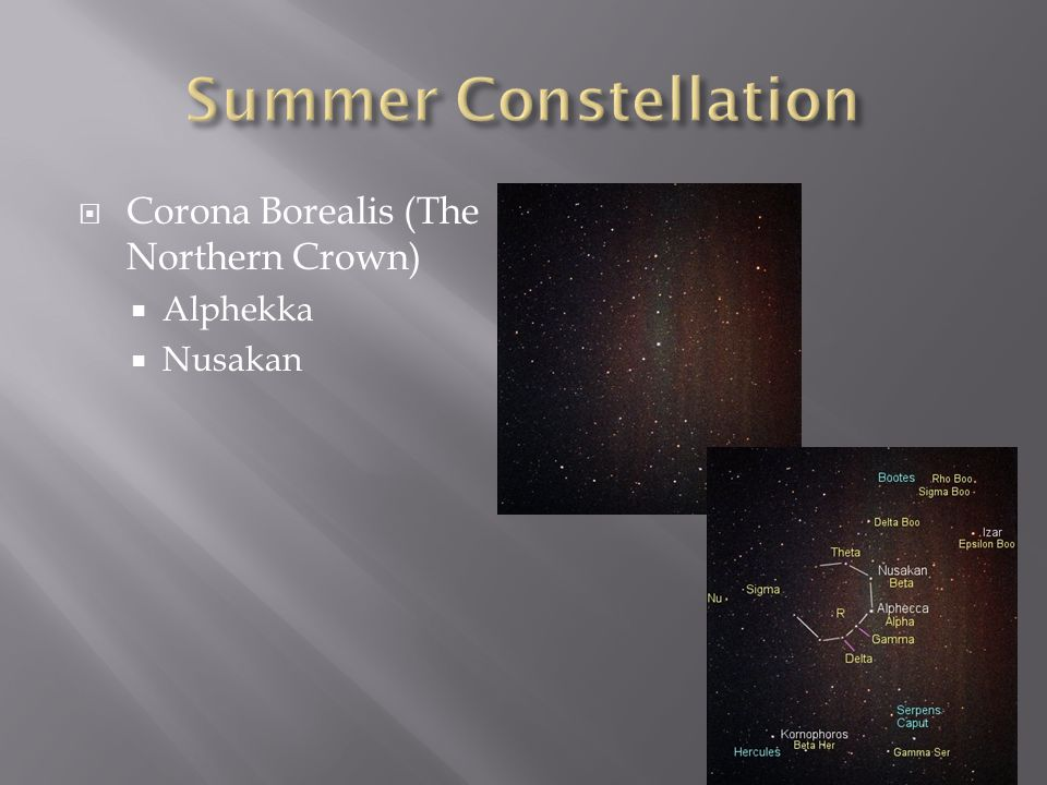 Summer Constellation Corona Borealis (The Northern Crown) Alphekka