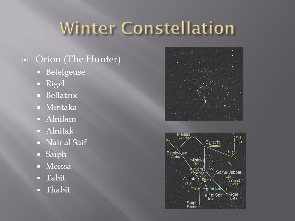 Winter Constellation Orion (The Hunter) Betelgeuse Rigel Bellatrix