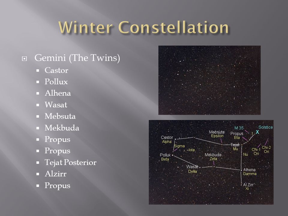 Winter Constellation Gemini (The Twins) Castor Pollux Alhena Wasat