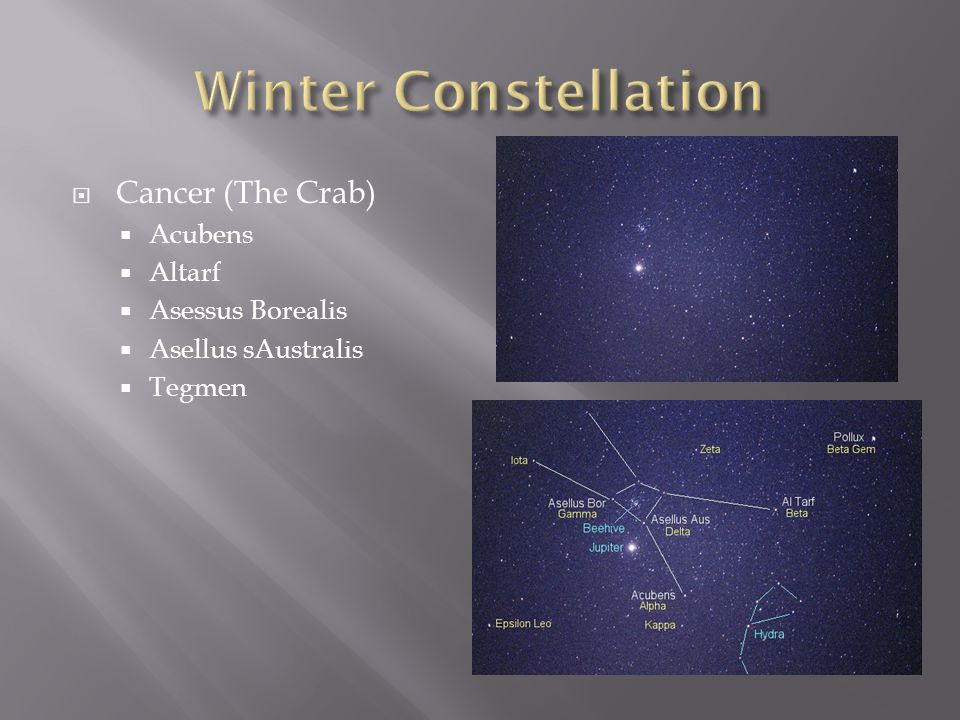 Winter Constellation Cancer (The Crab) Acubens Altarf Asessus Borealis