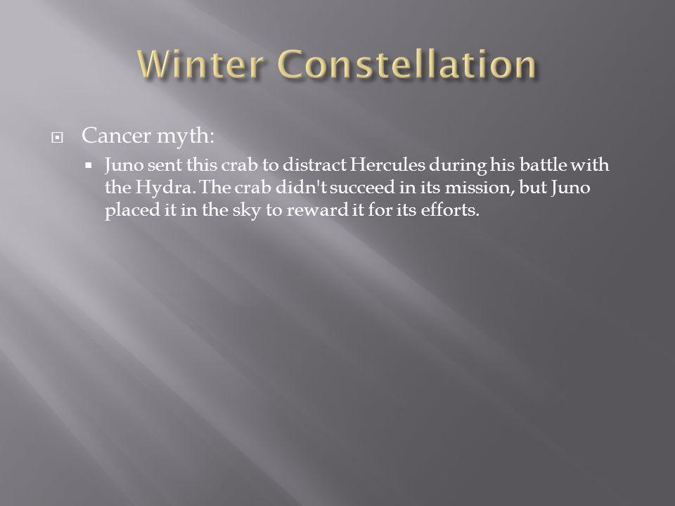 Winter Constellation Cancer myth: