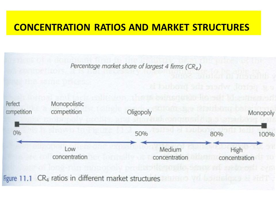 CONCENTRATION RATIOS AND MARKET STRUCTURES